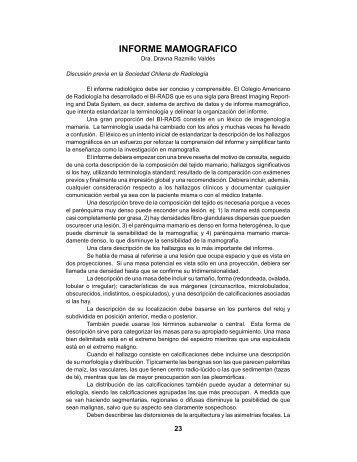 Informe Mamográfico - Sociedad Chilena de Mastología