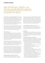 SelvityS hallinto- ja ohjauSjärjeStelmäStä vuodelta 2012 - Fiskars ...
