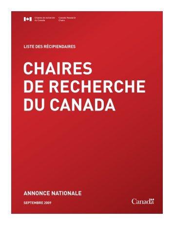 annonce nationale - Chaires de recherche du Canada