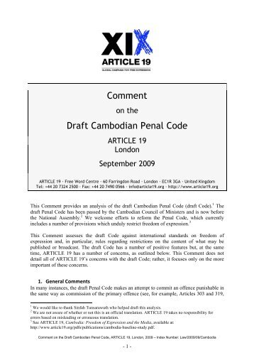 Comment on the Draft Cambodian Penal Code ARTICLE 19 London ...