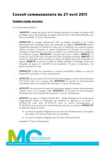 Conseil communautaire du 27 avril 2011 - Communauté d ...
