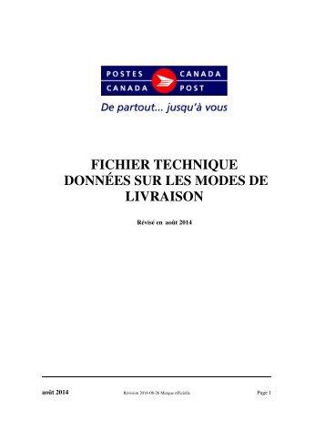 fichier technique données sur les modes de livraison - Canada Post