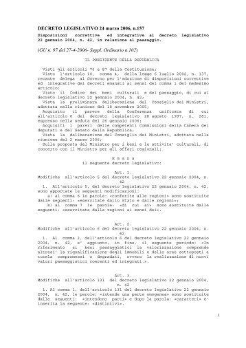 DECRETO LEGISLATIVO 24 marzo 2006, n.157 ... - Geologi Puglia