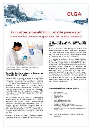 Sheffield Hospital Molecular Genetics - Elga Process Water