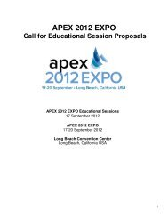 APEX 2012 EXPO Call for Educational Session Proposals