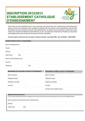 inscription 2012/2013 etablissement catholique d'enseignement - MEJ