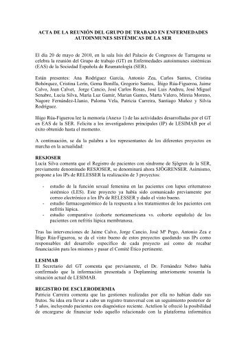 ACTA DE LA REUNIÓN DEL GRUPO DE TRABAJO EN ...