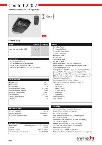 Technische Daten Comfort 220/250/252 (pdf) - DZ Schliesstechnik ...
