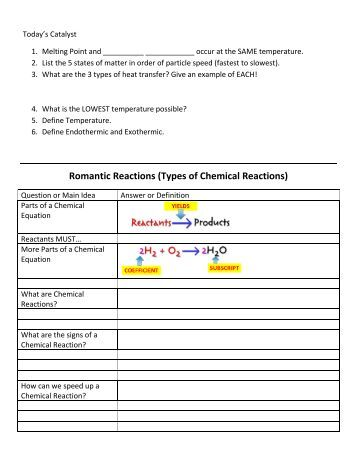 Printables Six Types Of Chemical Reaction Worksheet Answers six types of chemical reaction worksheet answers abitlikethis romantic reactions cobb learning
