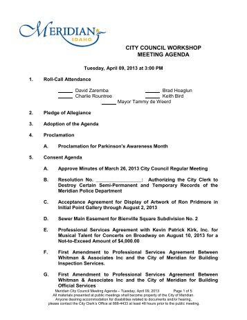 City Council (Wkshps at 300pm on 2nd Tuesday ... - City of Meridian
