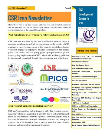 CSR Iran Newsletter - CSR360 Global Partner Network