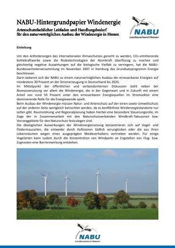 NABU-Hintergrundpapier Windenergie - NABU Bad Arolsen