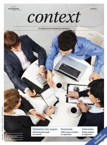 Context N° 5 2011 - Validation des acquis (PDF, 6830 kb) - Sec Suisse