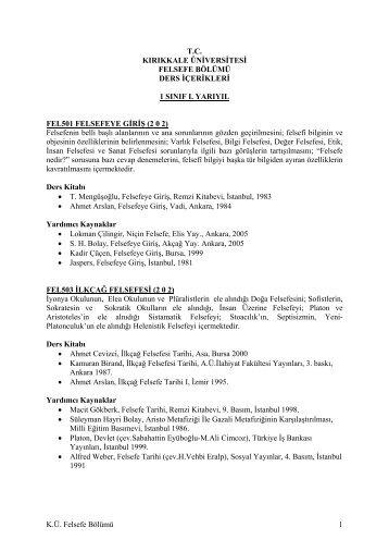 Lisans Ders İçerikleri - Felsefe Bölümü