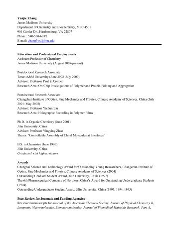 Dr. Zhang's CV - James Madison University