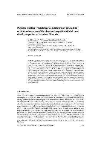 Periodic Hartree–Fock linear combination of crystalline orbitals ...
