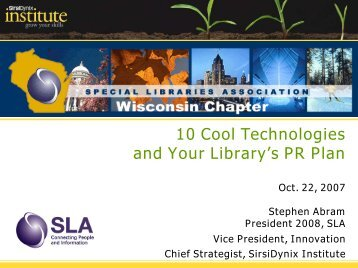 10 Cool Technologies and Your Library's PR Plan - Stephen's ...