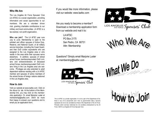 Trifold Brochure Los Angeles Air Force Spouses Club