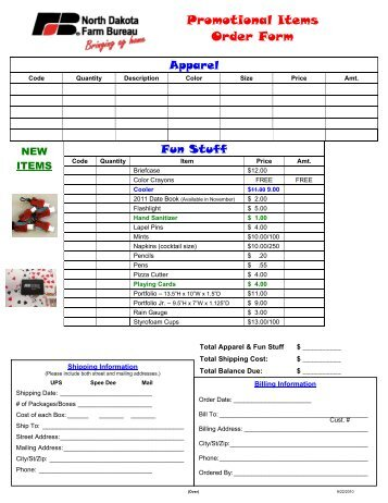 Promotional Items Order Form