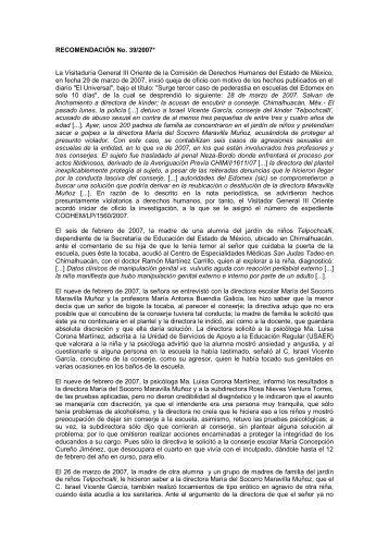 RECOMENDACIÓN No. 39/2007* La Visitaduría General ... - codhem