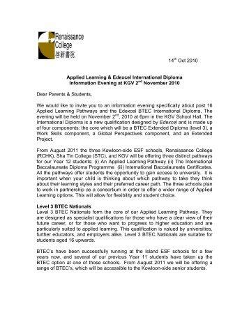BTEC_ID Information Evening KGV - Renaissance College