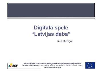 """Digitālā spēle """"Latvijas daba"""""""