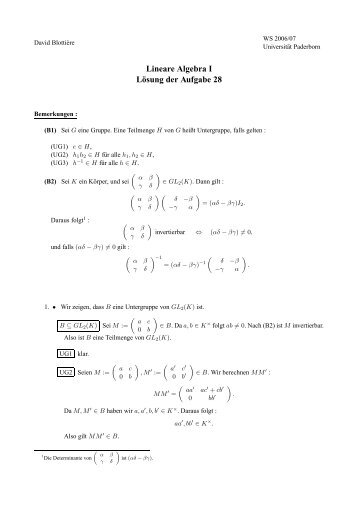Lineare Algebra I Lösung der Aufgabe 28 - Universität Paderborn