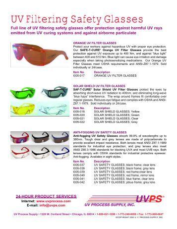 UV Filtering Safety Glasses - UV Process Supply