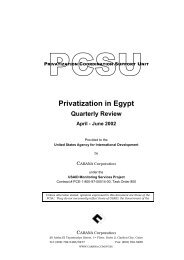 Privatization in Egypt .Quarterly Review .April -June 2002.