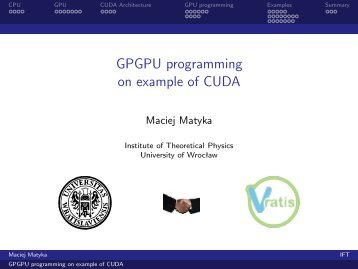 GPGPU programming on example of CUDA - Panoramix