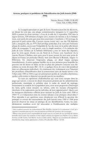 Acteurs, pratiques et problèmes de l'identification ... - Jourdan.ens.fr