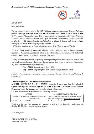 Registration form: 18th Philippine Japanese Language Teachers ...