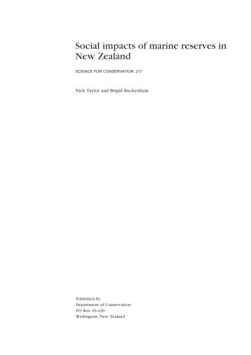 Social impacts of marine reserves in New Zealand - Department of ...