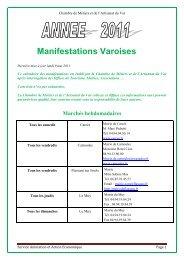 Calendrier foires et manifestations artisanales varoises 2011
