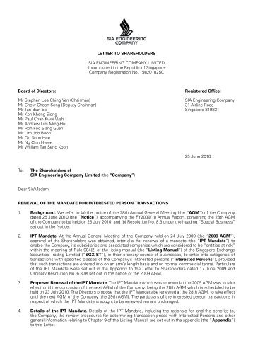 Letter to Shareholders (pdf) - SIA Engineering Company