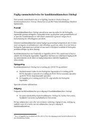 Faglig rammebeskrivelse for kandidatuddannelsen i biologi