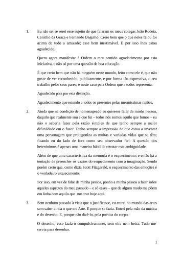 Alocução de Manuel Tainha - Ordem dos Arquitectos