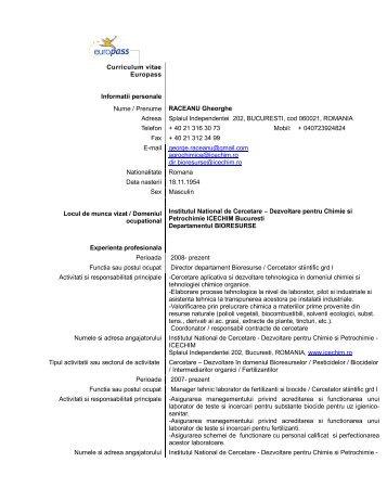 Curriculum vitae Europass Informatii personale Nume ... - ICECHIM