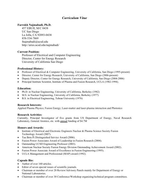 Curriculum Vitae - Fusion Energy Research Program - UC San Diego