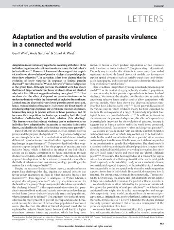 Adaptation and the evolution of parasite virulence in a connected ...