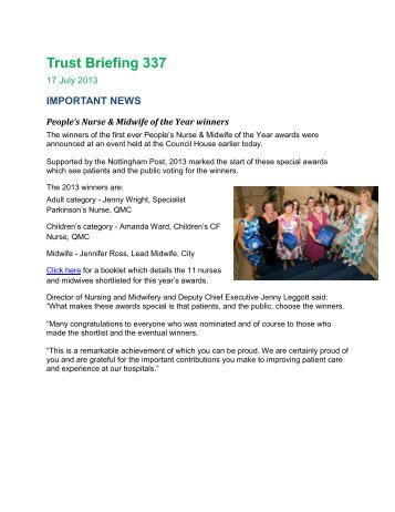 Trust Briefing 313 - Nottingham University Hospitals NHS Trust