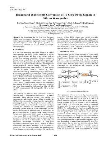 Broadband Wavelength Conversion of 10-Gb/s DPSK Signals in ...