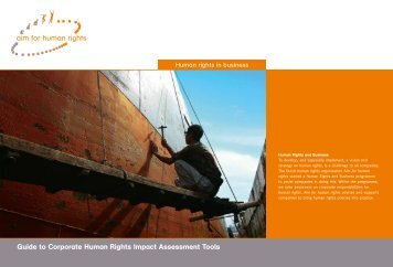 Guide to Corporate Human Rights Impact Assessment Tools. Aim ...