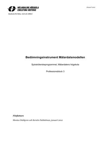 Bedömningsinstrument Mälardalsmodellen - Mälardalens högskola