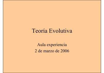 Teoría Evolutiva - Universidad Pública de Navarra