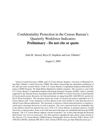 Confidentiality Protection in the Census ... - Cornell University