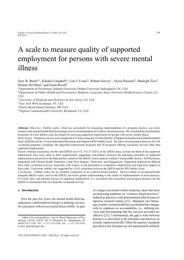 A scale to measure quality of supported employment for ... - IOS Press
