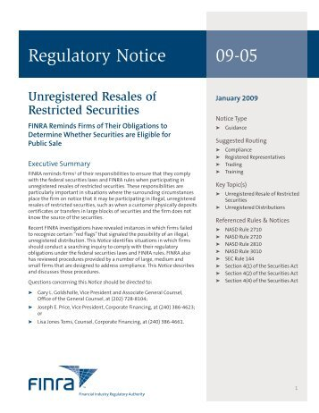 Regulatory Notice 09-05 - finra