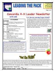 Concordia 4-H Leader Newsletter