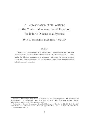 A Representation of all Solutions of the Control Algebraic Riccati ...